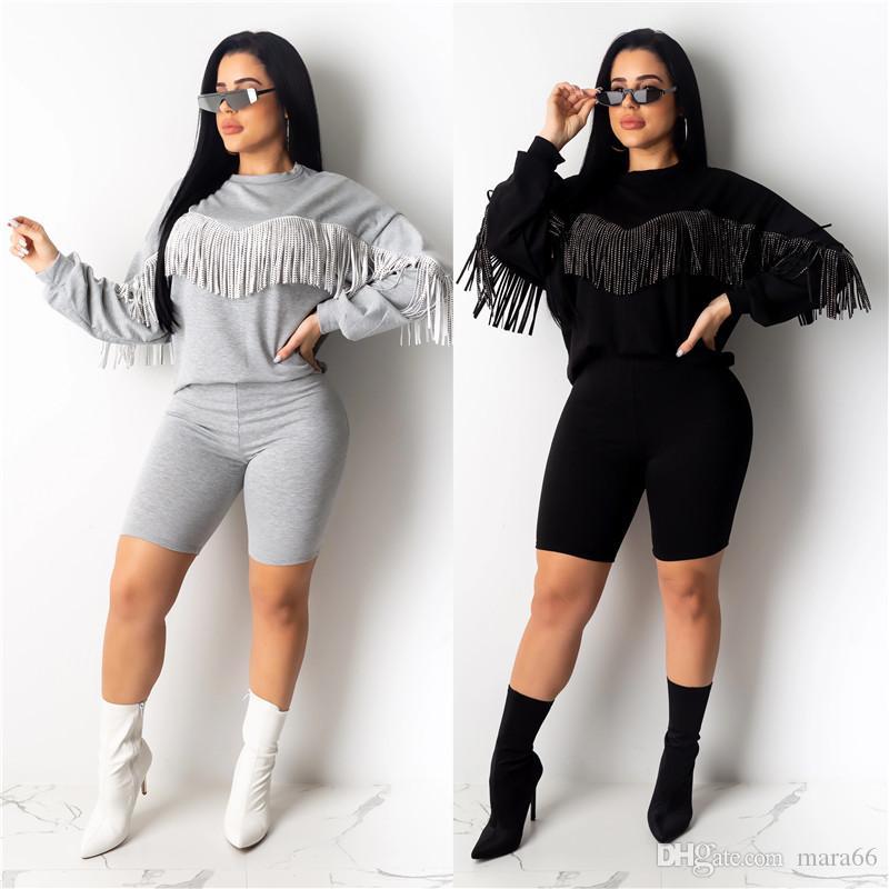 Borla de las mujeres ropa informal del chándal de color sólido de dos piezas de manga larga sudaderas bodycon cortos caen traje de ropa de invierno 2075 del basculador