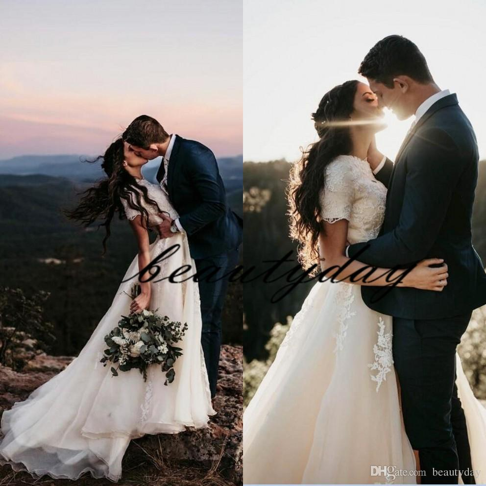 2019 vestidos de casamento de praia sexy boho estilo country lace vestidos de casamento varrer trem mangas curtas boêmio noiva plus size robes de soirée