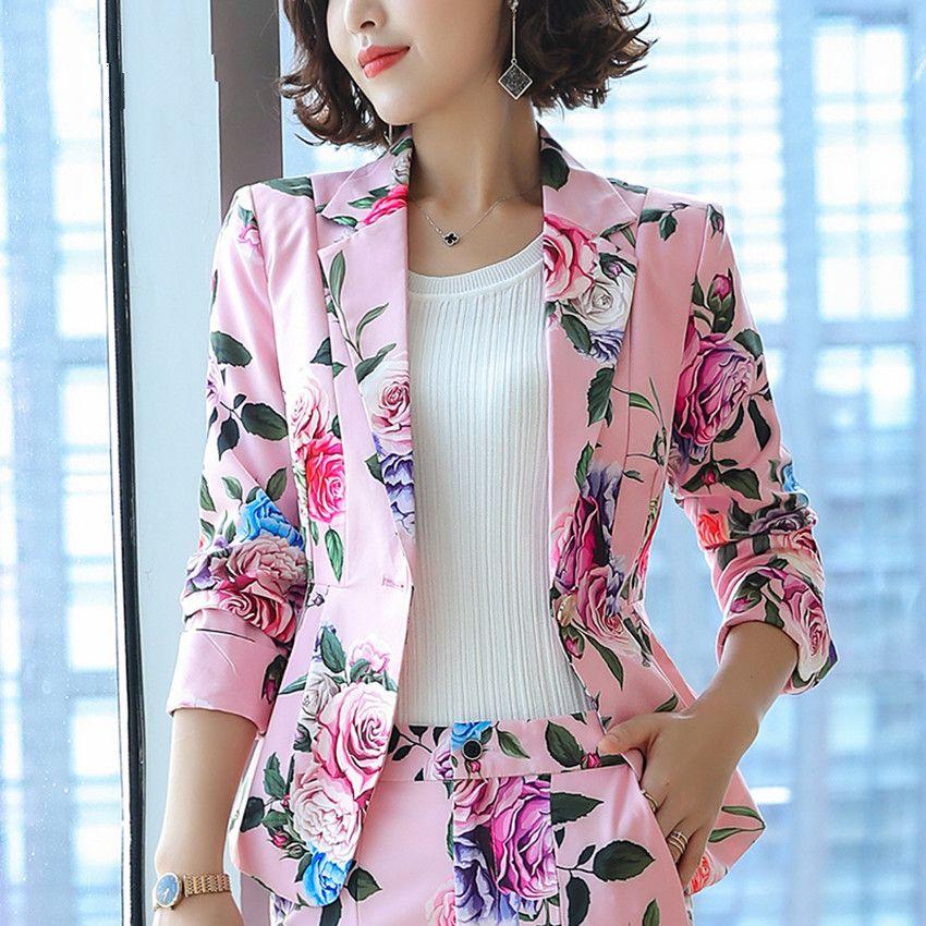 2019 Floral Blazer Mujeres Elegante Elegante Chaqueta de flores de manga completa Retro Casual Tallas grandes Abrigo Oficina Damas Ropa de trabajo Y190826