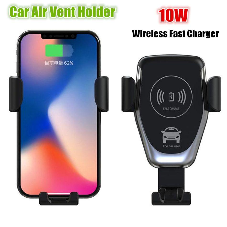 Venda quente Universal Qi Sem Fio Rápido de Carregamento Do Carro Carregador de Ar Ventilação Suporte Do Telefone Sem Fio Rápido Carregador de Carro de Montagem