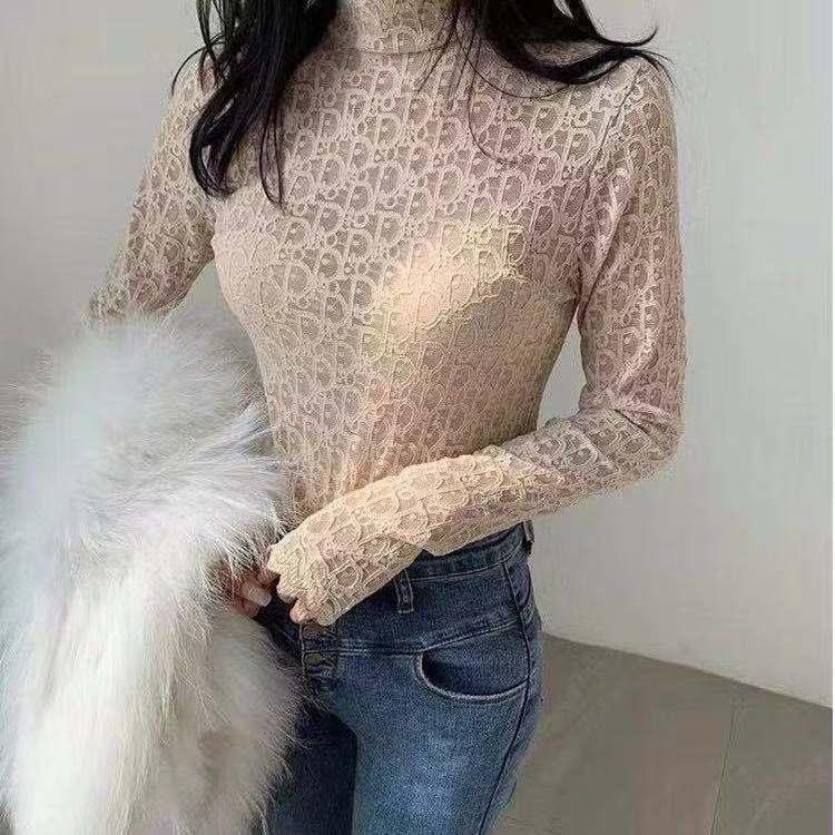 Dentelle Primer chemise femme nouvelle dentelle de style esprit étranger prend l'intérieur moitié col montant gaze net tempérament de fées manches longues