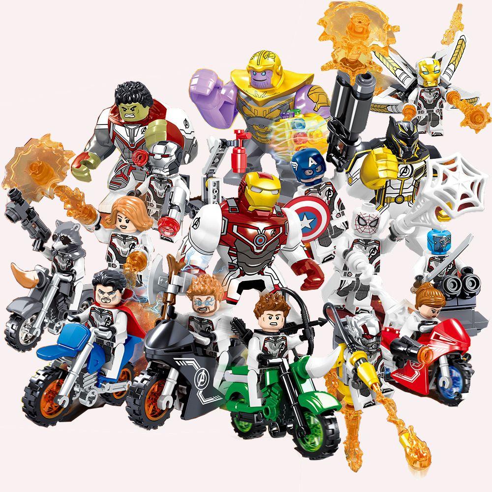 16Pcs Avengers Super heroes Thanos Hulk Iron Man Mini figure Building Blocks Toy