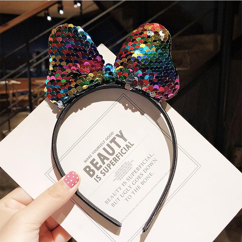 New Girls Cute Colorful Sequin Crown Bow Cat Ears Hairbands Lovely Hair Ornament Party Headband Kids Fashion Hair Accessories