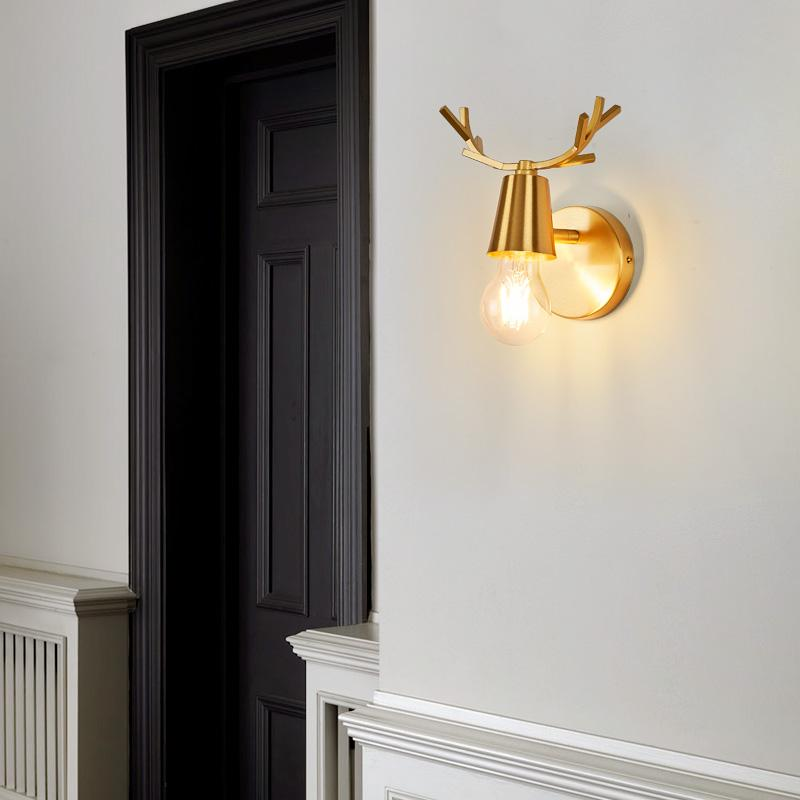 Все медные пантов светильник стены современный минималистский гостиной спальня ночники ванной зеркало передний проход коридор