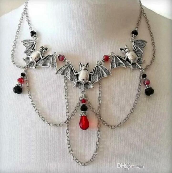 Bats Necklace Pendant Multi Layered Collares Crystal Bead Gothic Choker Statement Necklace For Women Jewelry Halloween Surprise Gifts 8PCS