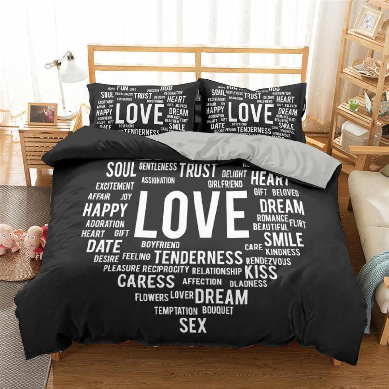 Roupa de cama 3D100 Idiomas Eu amo U Printing Bedding Set Duvet Cover Set fronha Consolador Inglês Letters Bed