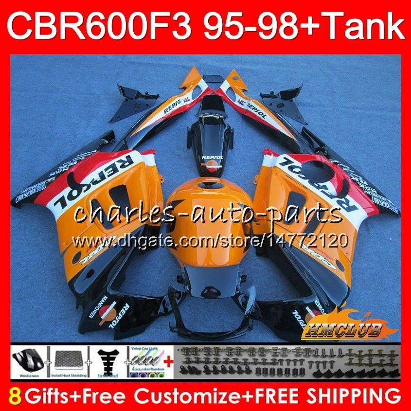Corpo + tanque para Honda CBR 600F3 600cc CBR600 F3 95 96 Repsol Laranja 97 98 41HC.2 CBR 600 FS F3 CBR600FS CBR600F3 1995 1996 1998 1998 Feeding