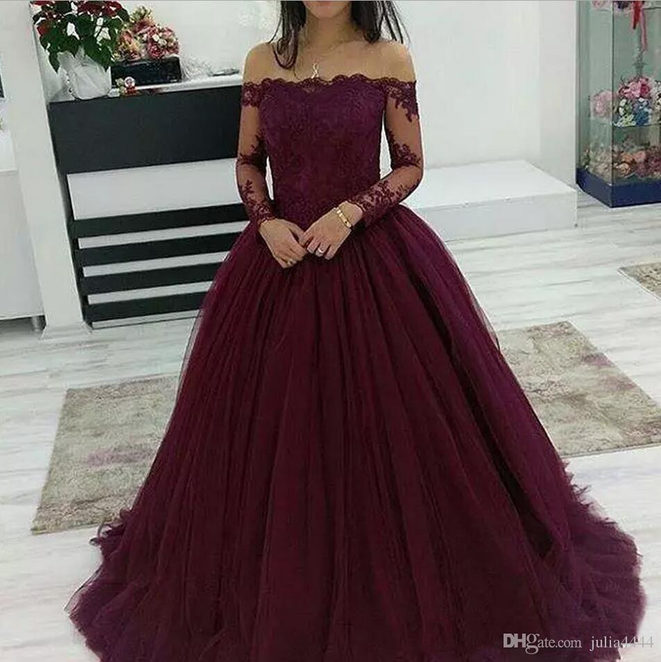 Vestidos de fiesta sexy en color burdeos 2019 De largo en una línea Fuera del hombro Manga larga Longitud de encaje Vestido largo de noche Ropa formal
