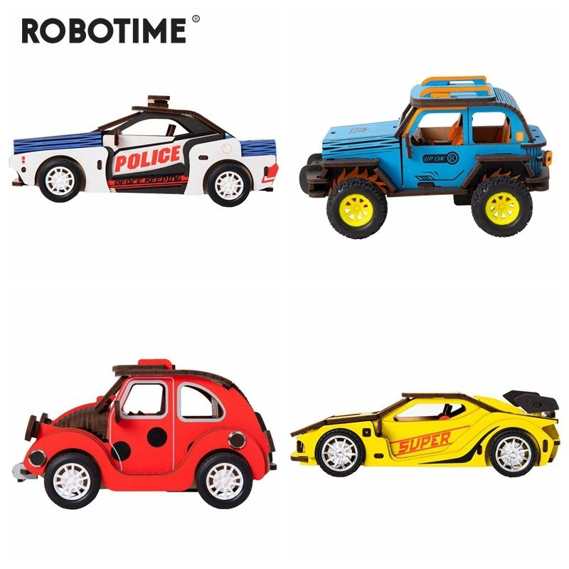 Robotime 4 Kinds Movable DIY 3D Wooden Inertia Power Car Model Building Kits Assembly Toy Gift for Children Adult HL Y200317