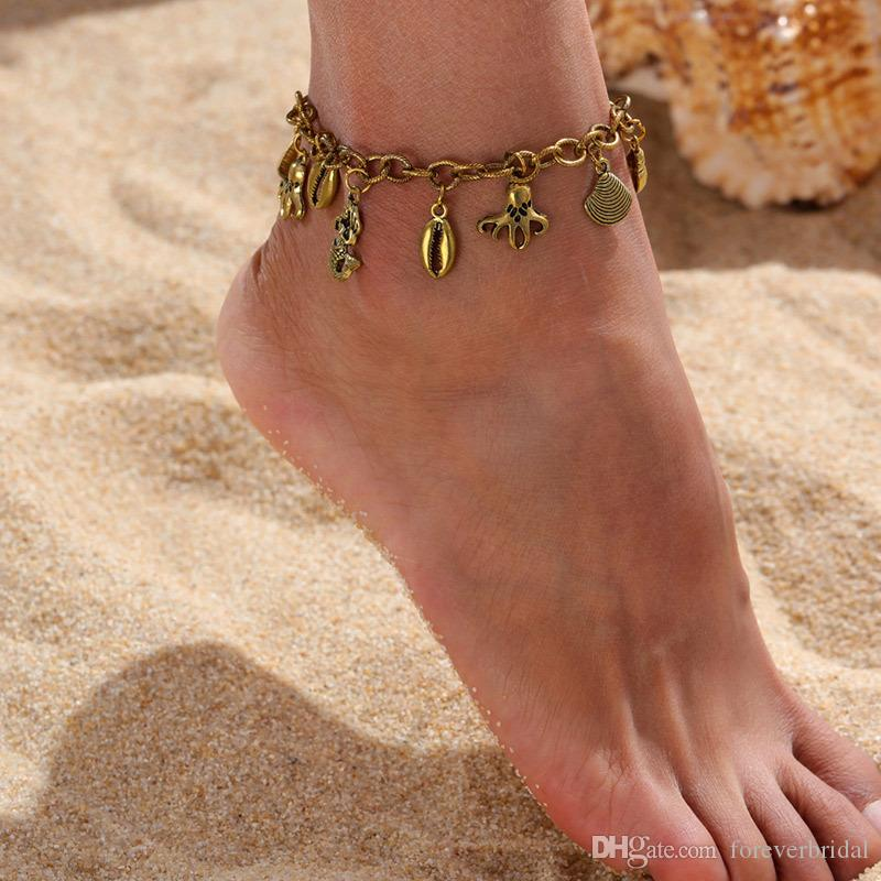 Cheap Barefoot For Wedding Bridal Jewelry Anklet Chain Hottest Stretch Gold Toe Ring Beading Wedding Bridal Bridesmaid Jewelry Foot