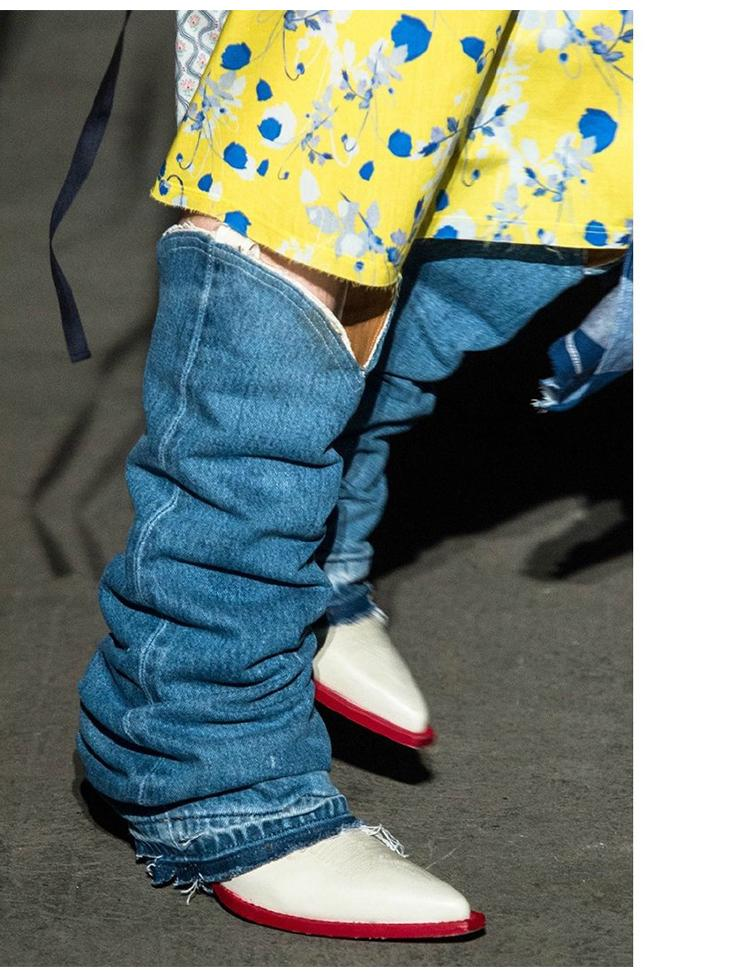Occidentali donne di cuoio dei jeans di disegno stivali alti al ginocchio Cowboy signore Fashion Run stivali lunghi 2020SS signore stivali cavaliere punta a punta stivale in pelle