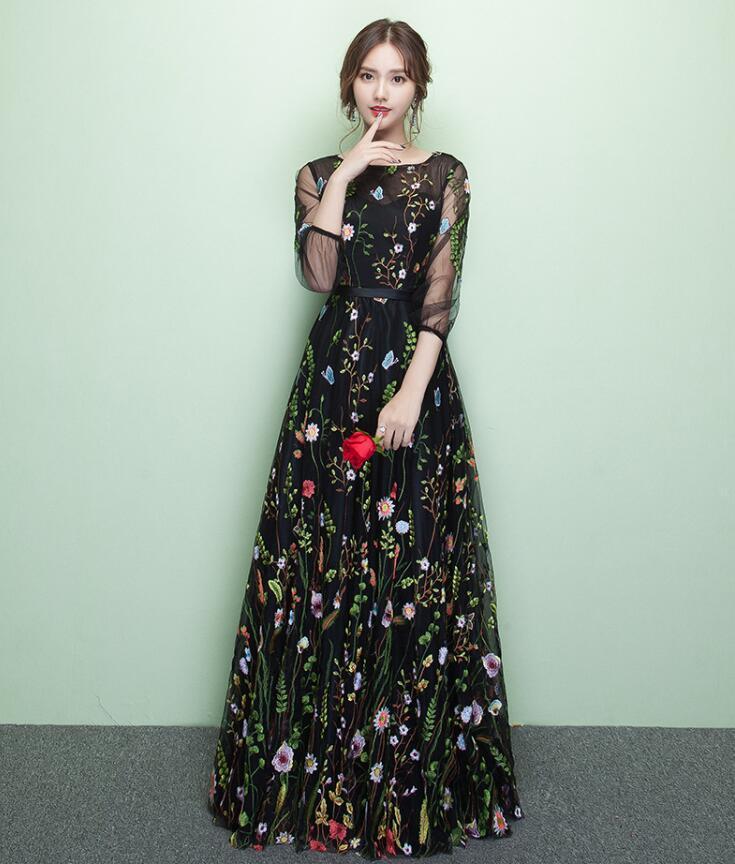 2021 Çiçek Nakış Dantel Örgü Elbise Cheongsam Kadınlar Saten Qipao Maxi Abiye Zarif Nefis Uzun Yarım Kollu Vestidos W663