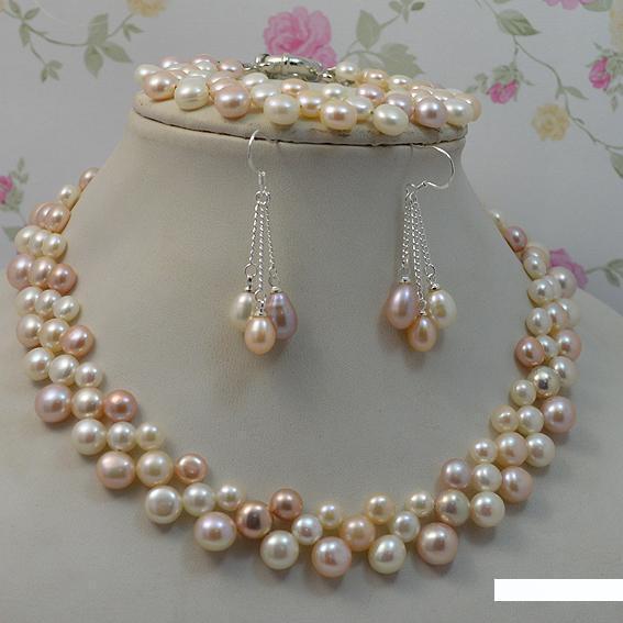 Doğal İnci Kuyumculuk Seti Çok Renkli Kadın İnci Kolye Bileklik Küpe 925 Gümüş Güzel Mücevher