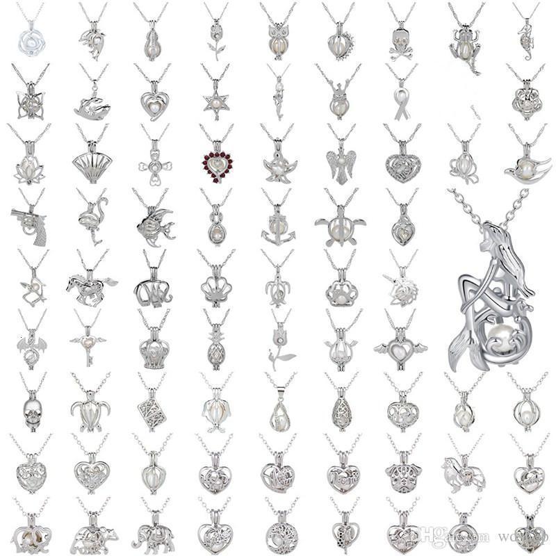 Perle Cage Halskette Liebe, wünschen echte Perle mit Austernperle Mix Entwurf Art und Weise höhlt Locket Claviclekette Diffusor Halskette