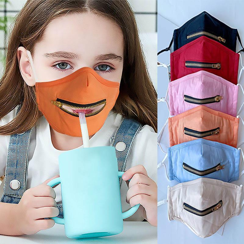 Creative Zipper Kids Face Mask Washable Reusable Covering Protective Face Masks Easy To Drink Popular Mouth Straw Drinking Mask Cover FY9171