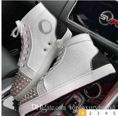 Beyaz Sneakers Mesh Deri Erkek Ayakkabı Kırmızı Alt Yüksek Flats Pik Pik Orlato Erkek Flat, Yeni Yıl Hediye Üst Kalite Marka Tasarım ile Kutusu Tops