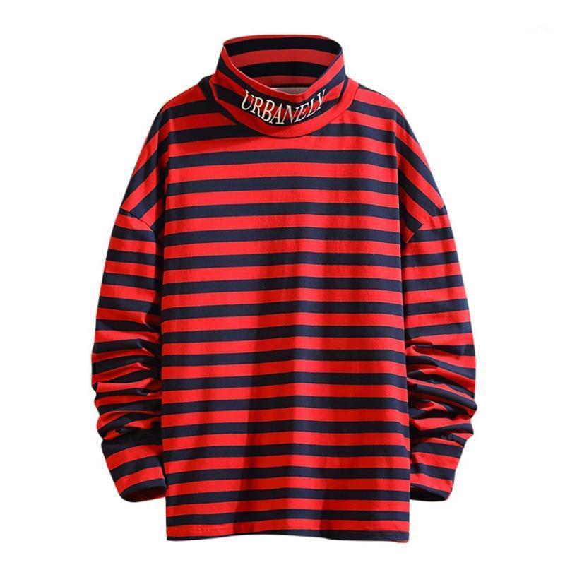 Rayas de cuello alto Deporte sudadera de algodón nuevos hombres del estilo manera ocasional impresión de la raya suéteres delgados de manga larga Tops1