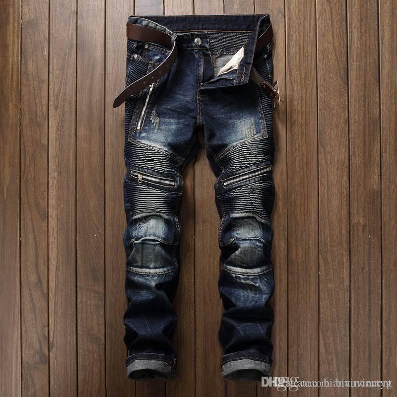 Qualitätssommerhosen gerade Strecke plissiert Reißverschluss Mens Bekleidung Tops Jeans Slim Fit Arten Art und Weise Hip-Hop-Designer Leder Causal