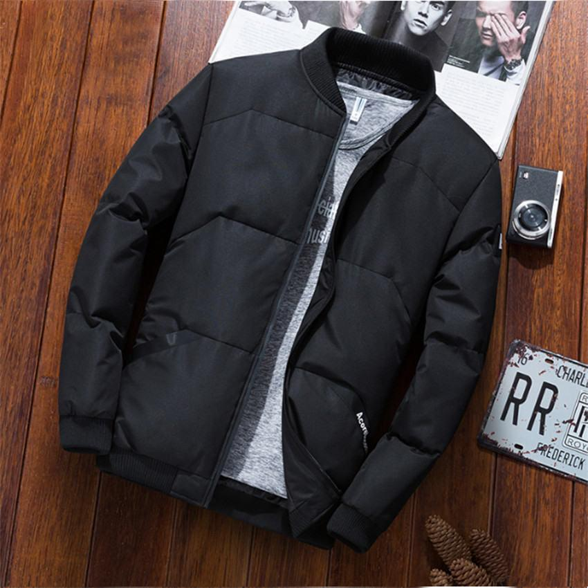 2019 New Korean Fashion Handsome Short Paragraph Winter Coat Men Casual Slim Solid Color Stand Collar Long Sleeve Winter Jacket Mens