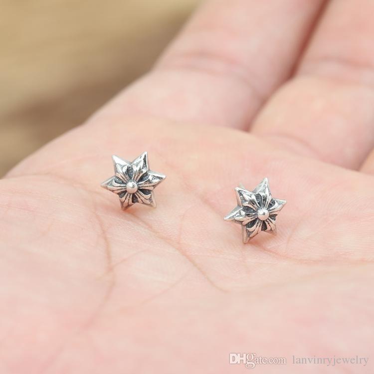 Personalisierte 925 Sterling Silber Schmuck Antike Silber Amerikaner Handgemachte Designer 6 Punkte Stern Ohrstecker Geschenk für Frauen