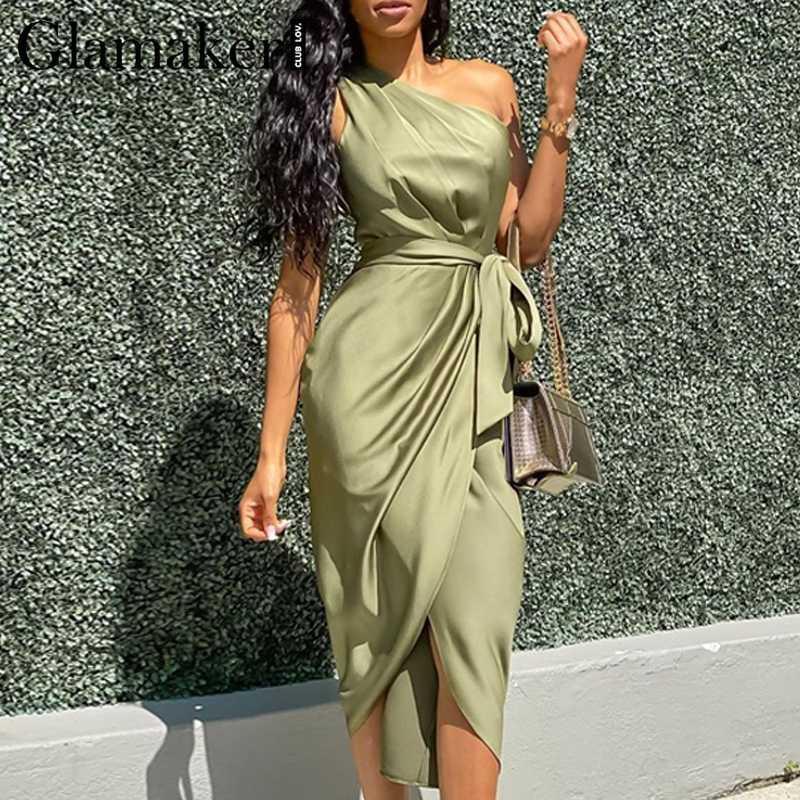 Glamaker satin une épaule femmes robe verte sexy manches plissé asymétrique femme bandage club robe de soirée longue