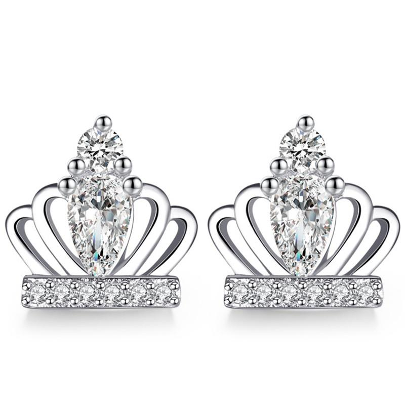 CZ Cubic Zirconia Crown Earrings For Women Bride Party Jewelry Gifts Ear Studs Female Ladies Classic Accessories WK140