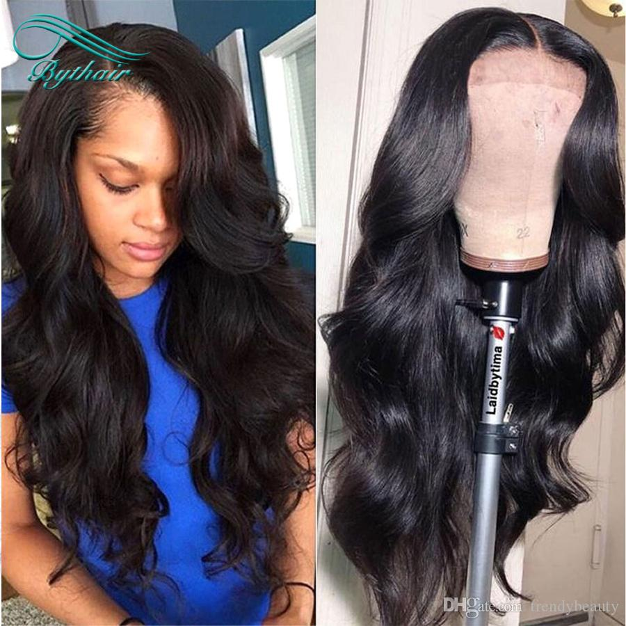 Big Wavy Human Hair Wigs Bleached Knots Full Lace Wigs Brazilian Virgin Hair Lace Front Wigs Pre Plucked Hairline Bythair