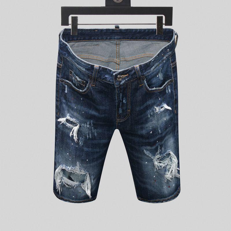 Designer Designer Breve Jeans Blu fori da uomo Jeans Casual Club Night Jean Straight Cotton Cotton Tempo libero Pantaloni per il tempo libero Pantaloni Stile Stile Stetto PVGIF