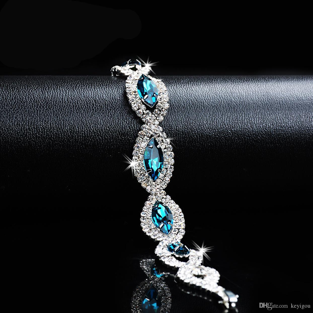 2020 الأزياء والمجوهرات أساور كريستال للنساء فضية اللون الأزرق الزركون أساور أساور فام الزفاف الزفاف