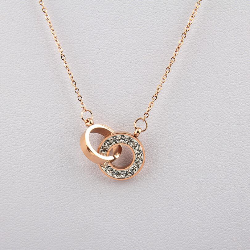 Wholesale Women Fashion Rose Gold Chain Double Ring Clavicle Pendant Designer Necklace Luxury Jewelry For Ladies Garnet Pendant Necklace Aquamarine Pendant Necklace From Kebe1 4 05 Dhgate Com