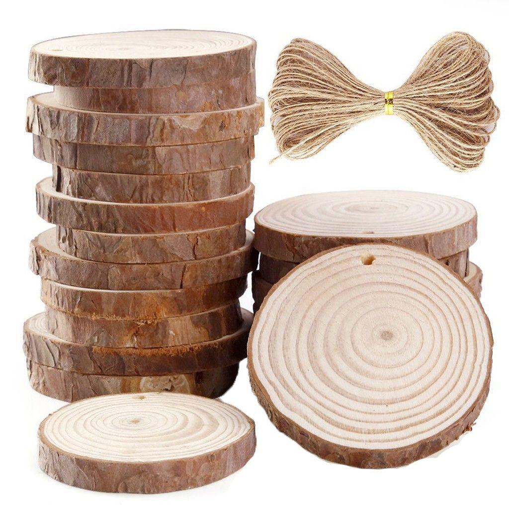 30 / 50pcs placas de madeira Fatias decorativas 6-7 cm de madeira Corda Discos 10m de suspensão da festa de aniversário Ornamentos Graffiti Pingentes