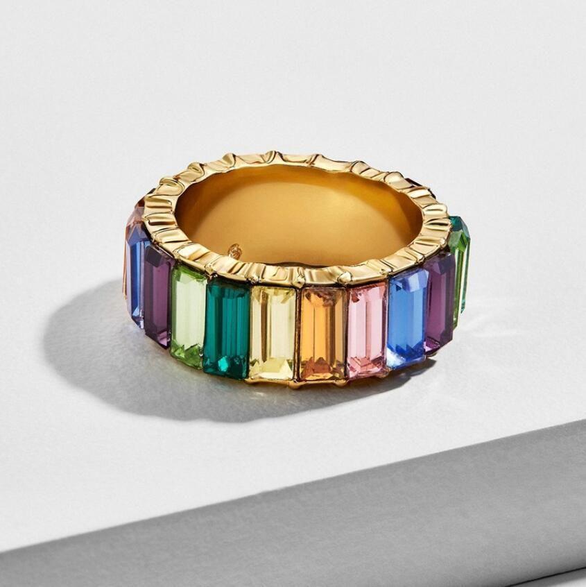 Gold gefüllt Modeschmuck Regenbogen Quadrat Baguette CZ Verlobungsring für Frauen bunte Zirkonia CZ Ewigkeit Band Ring