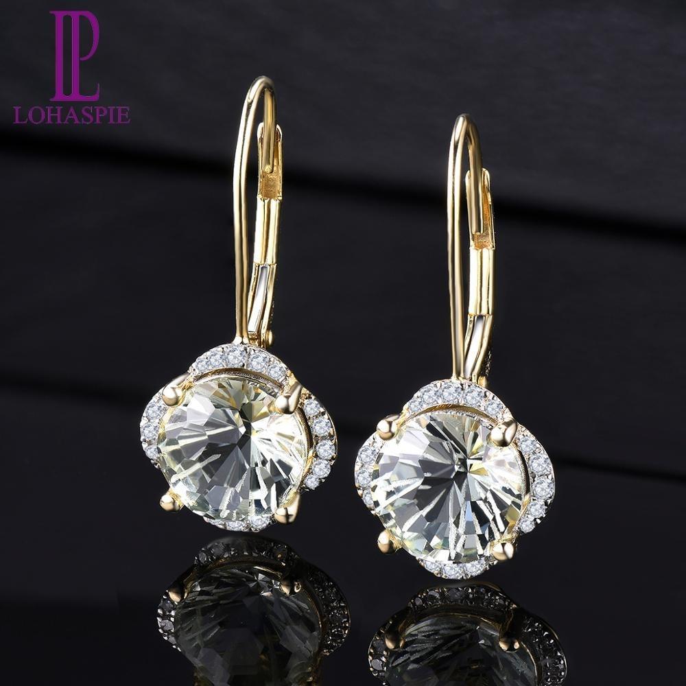 Pendientes de diamante sólido LP 14KY oro verde natural amatista 3.79CT margarita especial de corte fino Moda Joyas de piedras preciosas para el regalo CJ191203