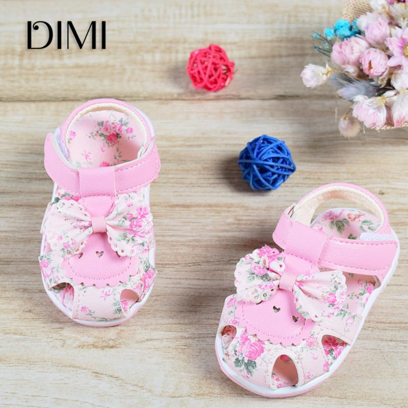 2020 Baby Sandals Newborn Baby Girl Sandals Summer Flower Baby Shoes Anti-Slip Closed Toe Leather Fashion Kids Sandals For Girls CY200512