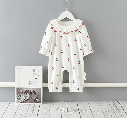 INS Baby Girls clothes Romper 100% cotton Ruffles Collar Little Cherry Print Romper Spring Fall Boutique rompers 0-2T
