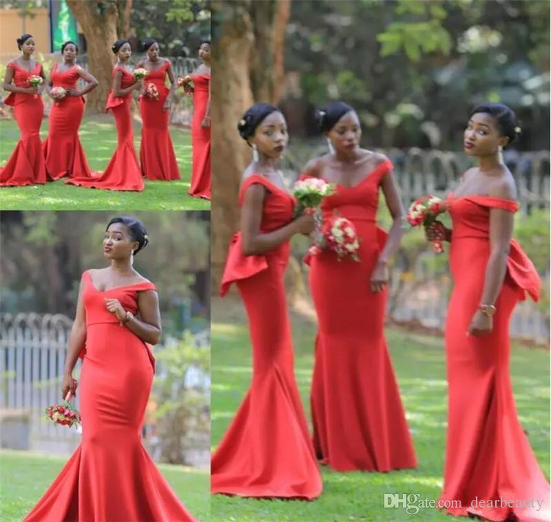 2021 저렴 한 붉은 들쭉 거부 드레스 긴 새틴 층 길이 아랍어 하녀 명예 웨딩 게스트 가운 사용자 정의 만든 흑인 여자 미인트 가운