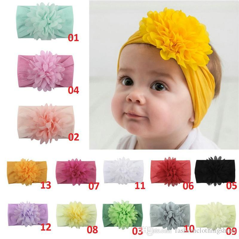 Новое прибытие Cute Kids девушки младенца Твердая мягкий нейлон Удобные вскользь ободки Infant Новорожденный цветка смычка диапазона волос аксессуары