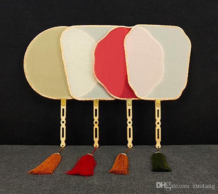 Artesanato Tradicional Vintage branco em branco Mão Fãs Bamboo Handle chinês Fan Natural Mulberry Silk Fan DIY mão da pintura do bordado Programas