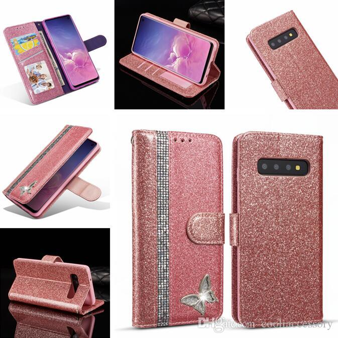 Glitter Diamond Wallet Leather Case For Iphone 11 PRO MAX X XS XR 8 7 Samsung S10E S10 S9 NOTE 10 PRO Bling Stand ID Card Photo Frame Cover