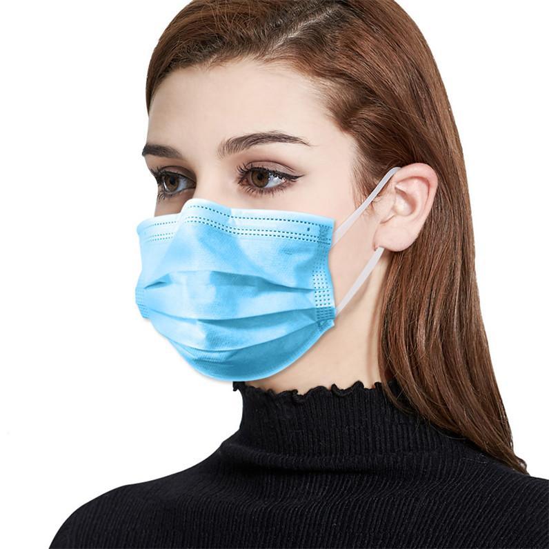 50pcs / Box Disposable Earloop Viso Bocca Maschera 3 strati anti polvere maschera maschere per il viso evitare che la polvere usa e getta antipolvere Mask