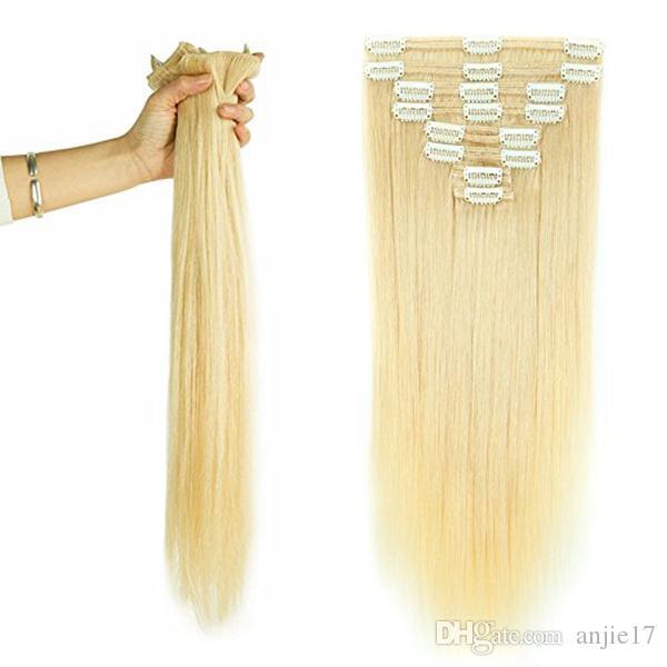 Бразильская Блондинка Прикрепляемого человеческих волос 100% Real Virgin Толстой Двойные Уток копна 7 шт Прямого шелковистый 7шта 16clips 70га