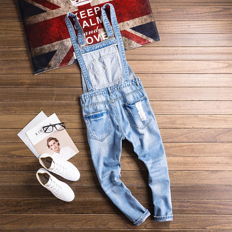 European and American Fashion Hip Hop Style Suspender Pants Handsome Youthful Couple Jumpsuits Casual Brokean Hole Jeans