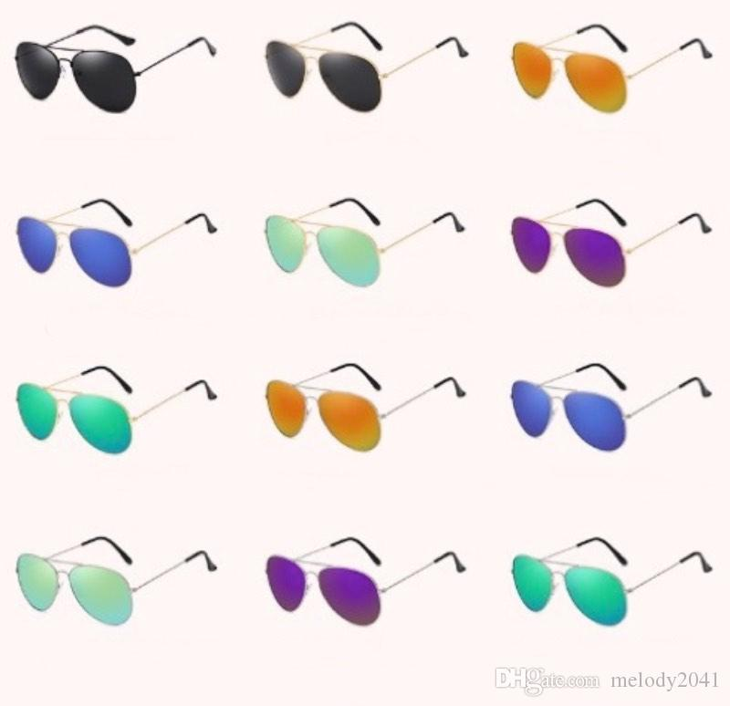 Aktualisieren Neue Sonnenbrille Bunte Spiegel Pilot Sun Brillen UV400 Objektive 12 Farben Gemischt Billig Großhandel Sonnenbrillen