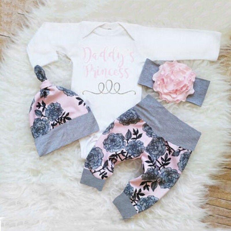 مصمم للأطفال حديثي الولادة الرضع الطفل مجموعة ملابس البنات BODYSUIT + سروال الدعاوى اللباس + القبعة طفلة الملابس