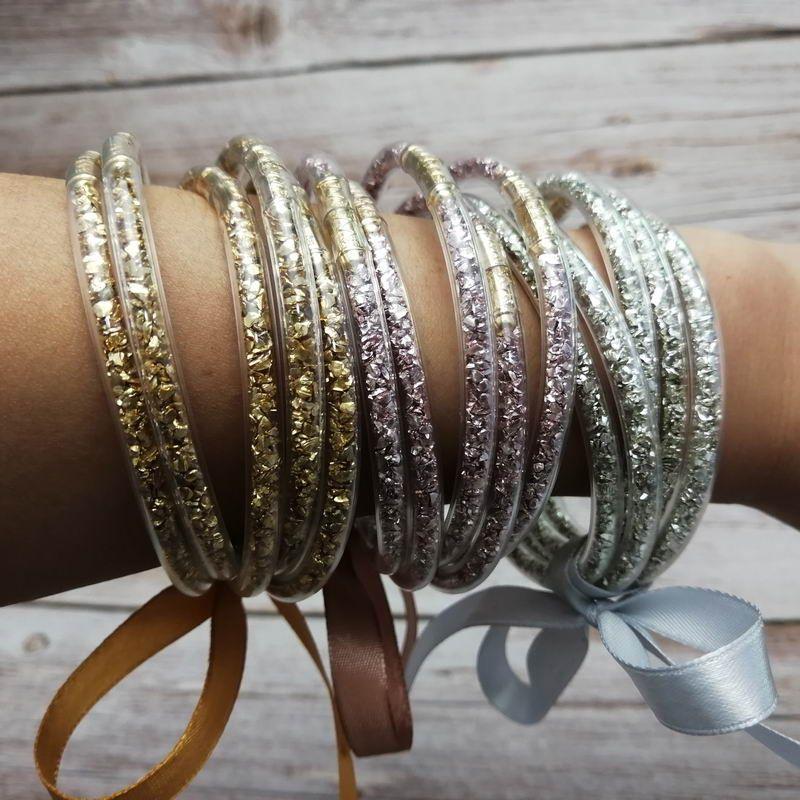 65mm 5pcs/Set Gold Clasp All Weather Glitter Glass Beads Tube Jelly Bangle Bracelet Set Women Bowknot Filled Stacked Jelly Bangles Bracelets