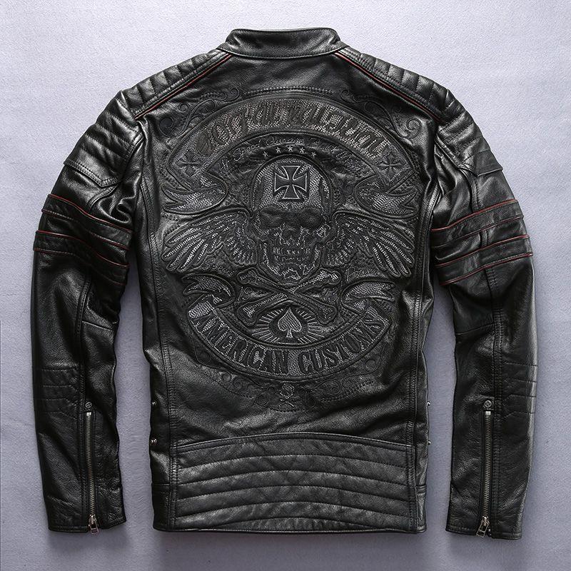 مصنع 2018 جديد الرجال ريترو خمر جلد السائق سترة التطريز الجمجمة نمط أسود يتأهل الرجال الشتاء دراجة نارية معطف