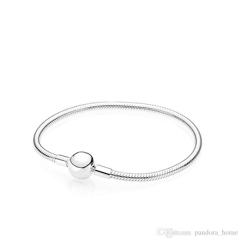 الكلاسيكية المستديرة الكرة ثعبان سوار العظم لباندورا 925 الفضة الاسترليني مصمم جودة عالية الفخامة السيدات سوار مجموعة المربع الأصلي