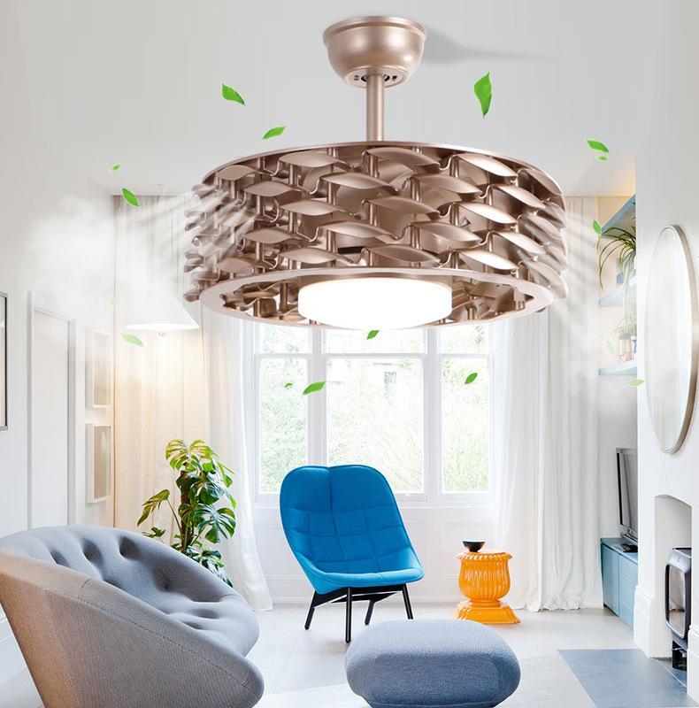 Nouveau ventilateur de plafond sans feuilles feuilles de ventilateur de salon Lampe de plafond Lustre Lustre Éclairage Conversion de fréquence Conversion Intelligent Éclairage Pendentif Lumières