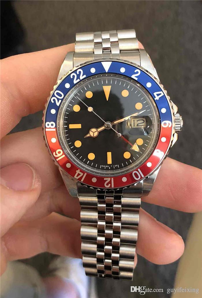 최신 핫 세일 럭셔리 남성 시계 40mm 빈티지 GMT 1675 펩시 레드 블루 투 톤 아시아 사파이어 2813 기계식 자동 망 스틸 시계