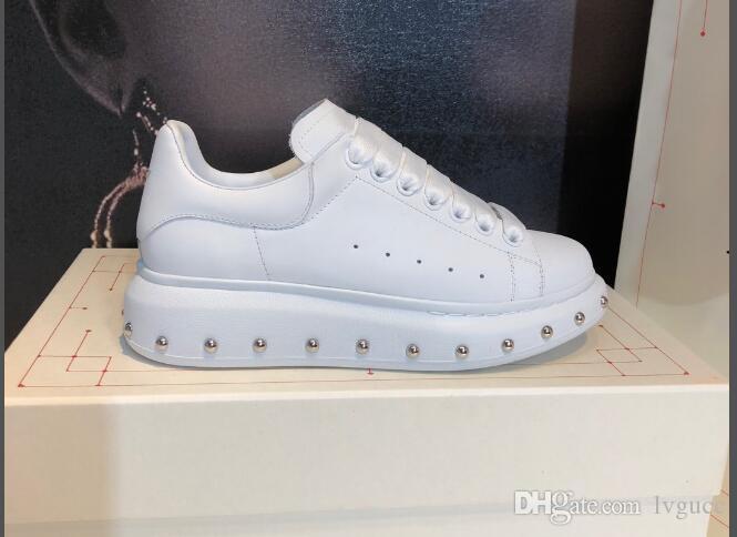 новый модный бренд дизайнер женщины мужчины белая кожа туфли на платформе натуральная кожа плоские повседневная обувь зашнуровать заклепки удобные кроссовки